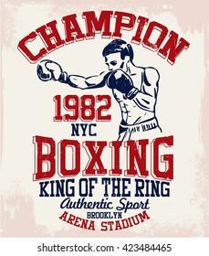 Vintage Boxer vector illustration. Template for print, t-shirt, poster or art works.