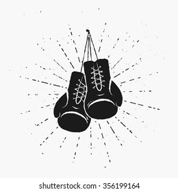 Vintage Boxing Gloves Hanging Nailed to Something. Vector illustration. Template for print, t-shirt, flyer, poster or art works.