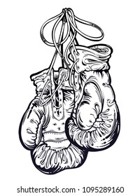 Vintage boxing gloves hanging from the wall. Isolated vector illustration. Template for print, t-shirt. Equipment for martial arts or a gym workout. Exercise and health. Tattoo for a fighter.