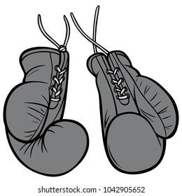 Vintage Boxing Gloves Illustration - A vector cartoon illustration of a pair of Vintage Boxing Gloves.