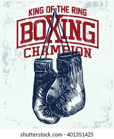 Vintage Boxing Gloves vector illustration. Template for print, t-shirt, poster or art works.