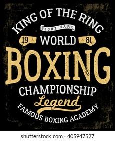 Vintage Boxing Gloves vector illustration. Template for print, t-shirt, poster or art works.