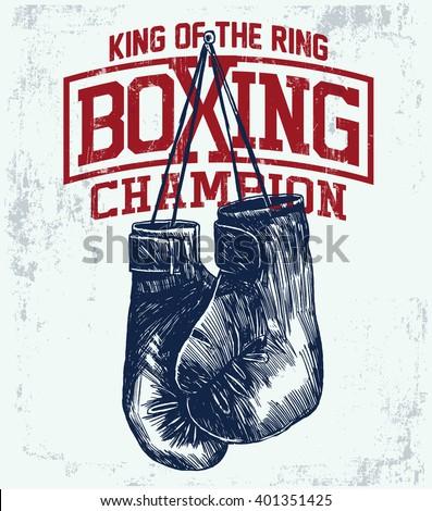 vintage boxing gloves vector illustration template のベクター画像