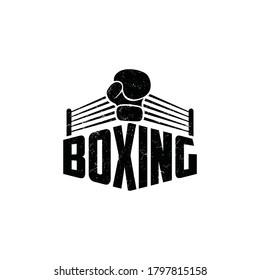Vintage boxing logo. Boxing sport vector.
