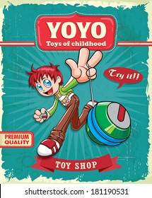 Vintage boy playing yoyo poster design