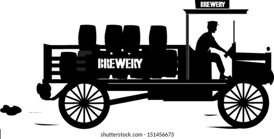 Vintage Brewers Lorry Silhouette