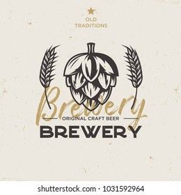 Vintage Brewery Logo with Hop and Malts, Vectror EPS10
