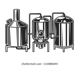 Vintage brewing machine concept with tubes and copper tanks isolated vector illustration