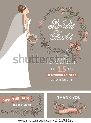 vintage bridal shower setcute cartoon bride in white long dressdecor elements