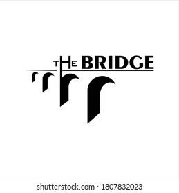 Vintage Bridge and Letter The Bridge Landscape silhouette view logo design