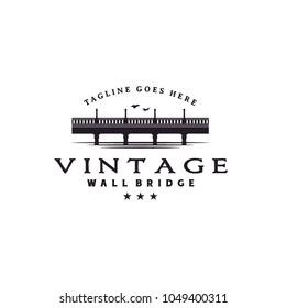 Vintage Bridge and River Landscape silhouette view logo design