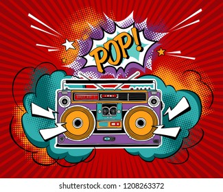 Vintage bright Recording equipment. Portable boombox, radio, player recorder in a Pop Art style. Poster, card, t-shirt composition, hand drawn style print. Vector illustration.