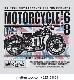 Vintage British motorcycle typography, t-shirt graphics, vectors