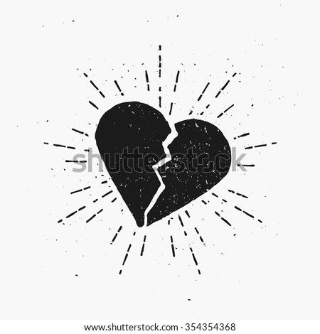 vintage broken heart template print cover stock vector royalty free