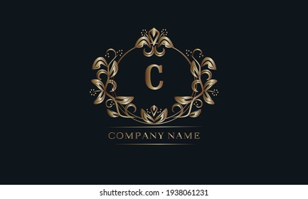 Vintage bronze logo with the letter C. Elegant monogram, business sign, identity for a hotel, restaurant, jewelry.