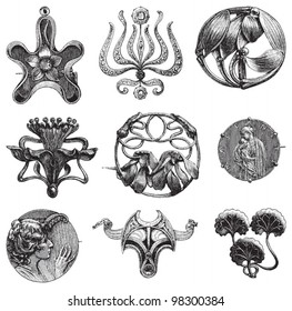 Vintage brooches collection / vintage illustration from Meyers Konversations-Lexikon 1897