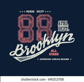 vintage brooklyn typography, t-shirt graphics, vector illustration