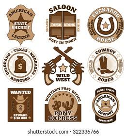 Vintage brown Wild West badges set on white background vector illustration