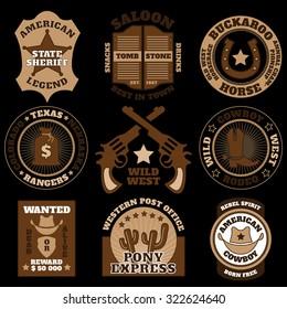 Vintage brown Wild West badges on black background vector illustration