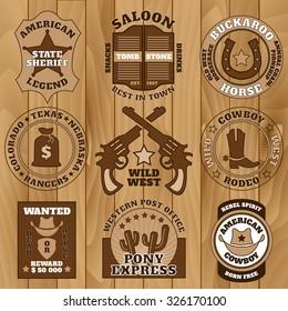 Vintage brown Wild West badges on old wooden background vector illustration