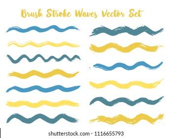 Vintage brush stroke waves vector set. Hand drawn blue gold brushstrokes, ink splashes, watercolor splats, hand painted curls. Interior paint color palette elements. Textured waves, stripes design.