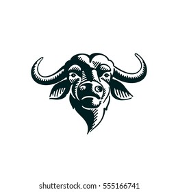 Vintage Buffalo illustration on white background. Vector icon design template for your logo, poster, sportswear etc.