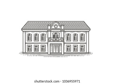 Vintage building. Hand drawn engraving style illustration.