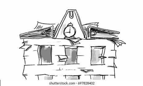 Vintage building office or private house. Vector sketch hand drawn for storyboard, projects, cartoon