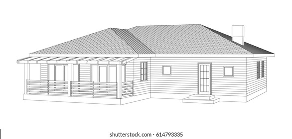 Vintage building perspective 3D. Drawing of the suburban house. Outlines cottage on white background. House 3D model perspective vector. Cottage blueprint.