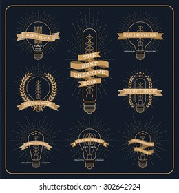Vintage bulb creative and idea award label with ray burst on dark striped background