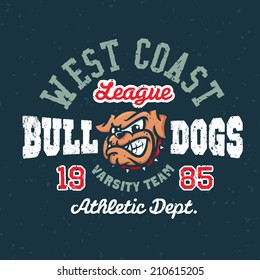 Vintage bulldogs textured varsity team sport t-shirt apparel graphic design, athletic department (grunge effect easy removable from separate layer)