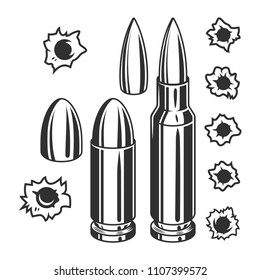 Vintage bullets and bullet holes set in monochrome style isolated vector illustration