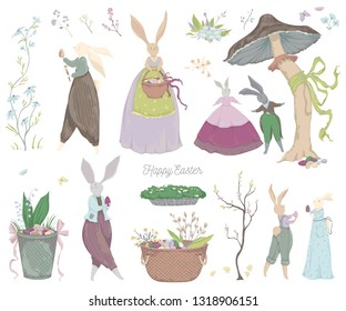 Vintage bunny characters and design elements for the Easter holiday. Easter bunny, eggs, flowers, basket, mushroom, butterflies. Isolated on white background. Vector illustration in watercolor style