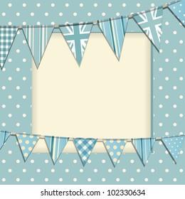 Vintage bunting background on a blue polka dot frame
