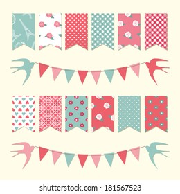 Vintage bunting flags and garland set for scrapbook and holidays design.