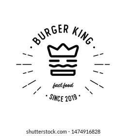 vintage burger king logo / a mix of burger and king