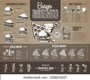 Vintage  burger menu design on cardboard. Fast food menu