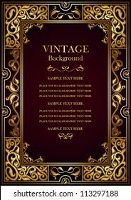 Vintage burgundy background, antique gold frame, victorian ornament, beautiful old certificate, award, royal diploma, ornate cover page, floral luxury rich ornamental pattern, achievement template