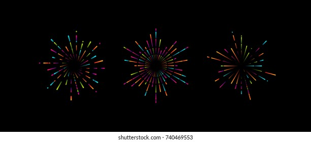 Vintage burst shape set. Vector illustration of multicolored fireworks or confetti explosions. Radial light rays or sunbeams isolated on black. Decoration elements for design.