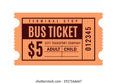Vintage bus ticket. Old paper coupon. Public transport pass paper with separation line. Check for paid fare. Isolated orange sheet with black printed price and lettering. Vector urban transportation