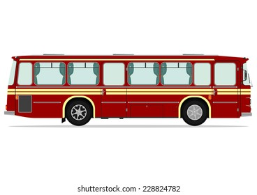 Vintage bus. Vector illustration without gradients on one layer.