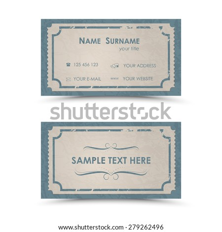 Vintage Business Card Template Stock Vector Royalty Free 279262496
