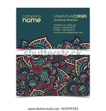 Vintage Business Card Template Swirls Stock Vector Royalty Free