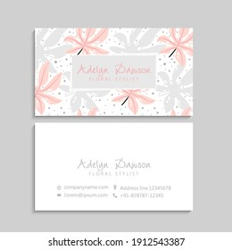 Vintage business and visiting card with floral pattern. Vector illustration