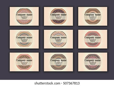 Vintage business visiting cards set. Ornamental mandala, ethnic circle decorative elements in boho style.