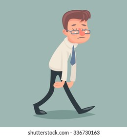 Vintage Businessman Walk Sad Tired Weary Character Icon Stylish Background Retro Cartoon Design Vector Illustration