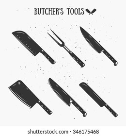 Vintage Butcher's Tools. Template for your shop, butchery, menu, cafe, business or art works.