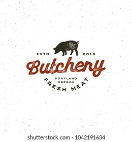 vintage butchery logo. retro styled meat shop emblem, badge, design element, logotype template. vector illustration