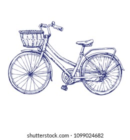 Vintage bycicle, retro bike hand drawn ink sketch line art stock vector illustration isolated on white background, design for coloring book page