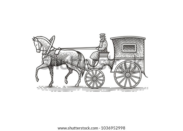 Vintage cab. Hand drawn engraving style illustration.